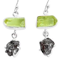 925 silver 23.46cts natural campo del cielo apatite rough fancy earrings p35314