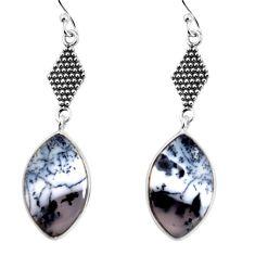 925 silver 12.22cts natural dendrite opal (merlinite) dangle earrings p91895