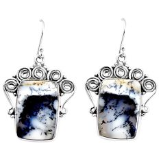 925 silver 22.73cts natural dendrite opal (merlinite) dangle earrings p91954