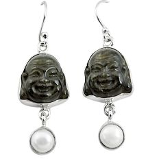 925 silver 16.18cts natural golden sheen black obsidian buddha earrings p78153