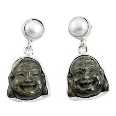925 silver 14.23cts natural golden sheen black obsidian buddha earrings p78157