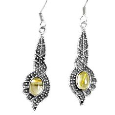 925 silver 5.30cts natural golden tourmaline rutile dangle earrings p34383