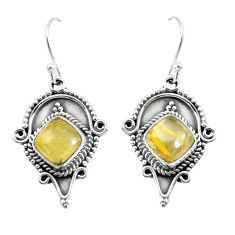925 silver 6.84cts natural golden tourmaline rutile dangle earrings p52848