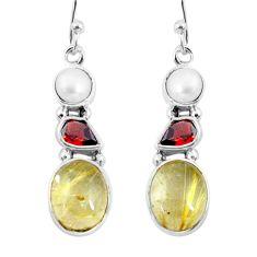 925 silver 11.13cts natural golden tourmaline rutile dangle earrings p57367