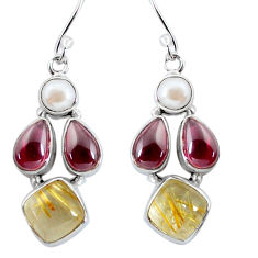 925 silver 15.53cts natural golden tourmaline rutile dangle earrings p57425