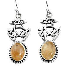 925 silver 6.32cts natural golden tourmaline rutile dangle earrings p60771