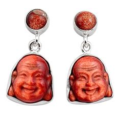 925 silver 16.20cts natural goldstone chandelier buddha charm earrings p88500