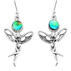 925 silver natural green abalone paua seashell angel wings fairy earrings p50774