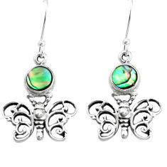 925 silver 4.38cts natural green abalone paua seashell butterfly earrings p38464