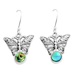 925 silver 4.02cts natural green abalone paua seashell butterfly earrings p38498