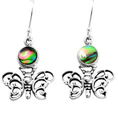 925 silver 4.55cts natural green abalone paua seashell butterfly earrings p50744