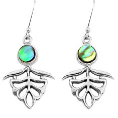 925 silver 4.02cts natural green abalone paua seashell dangle earrings p50753