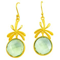 925 silver 18.73cts natural green amethyst 14k gold dangle earrings p50015