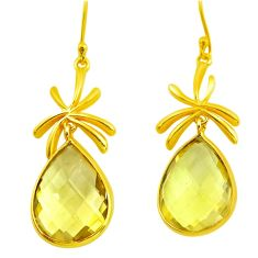 925 silver 21.53cts natural green amethyst 14k gold dangle earrings p75704