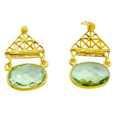 925 silver 12.96cts natural green amethyst 14k gold dangle earrings p87392