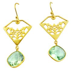 925 silver 14.03cts natural green amethyst 14k gold dangle earrings p87417