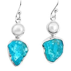 925 silver 13.27cts natural green apatite rough pearl dangle earrings p51747
