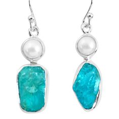 925 silver 13.40cts natural green apatite rough pearl dangle earrings p51751