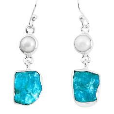 925 silver 14.72cts natural green apatite rough pearl dangle earrings p51755