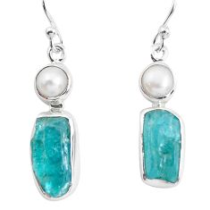 925 silver 12.52cts natural green apatite rough pearl dangle earrings p51864