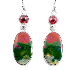 925 silver 19.76cts natural green bloodstone african dangle earrings p78698
