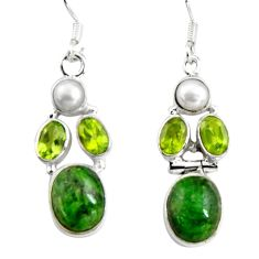 925 silver 14.12cts natural green chrome diopside peridot dangle earrings d32373