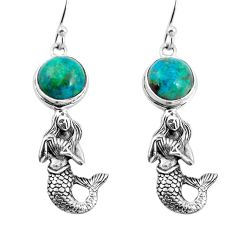 925 silver 6.02cts natural green chrysocolla fairy mermaid earrings p55467