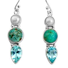 925 silver 10.78cts natural green chrysocolla topaz dangle earrings d32492