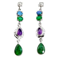925 silver 18.22cts natural green emerald amethyst pearl dangle earrings d32338