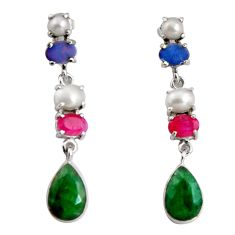 925 silver 16.43cts natural green emerald pearl ruby dangle earrings d32333
