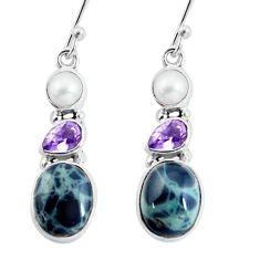 925 silver 10.76cts natural green kambaba jasper (stromatolites) earrings p57557