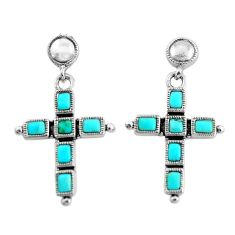 925 silver 8.22cts natural green kingman turquoise holy cross earrings c1788