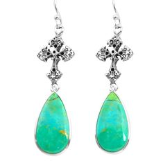 925 silver 14.23cts natural green kingman turquoise holy cross earrings p72538