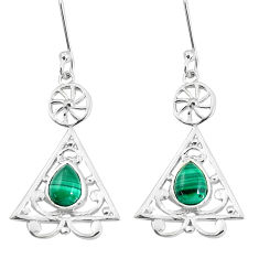 925 silver 3.65cts natural green malachite (pilot's stone) earrings p58532