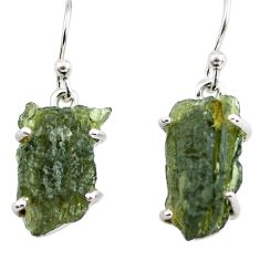925 silver 10.33cts natural green moldavite (genuine czech) earrings p71004