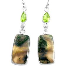925 silver 17.35cts natural green moss agate peridot dangle earrings p78537