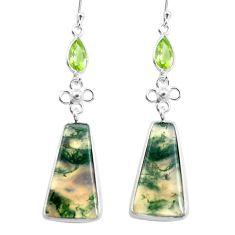 925 silver 17.90cts natural green moss agate peridot dangle earrings p78540