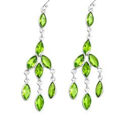 925 silver 12.32cts natural green peridot 14k gold dangle earrings p60670