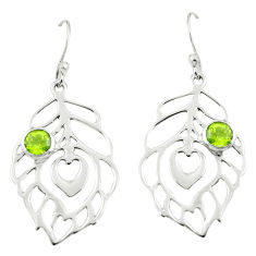 925 silver 1.47cts natural green peridot dangle feather earrings jewelry p62723