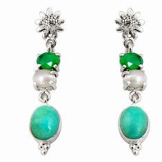 925 silver 15.44cts natural green peruvian amazonite dangle earrings d32294