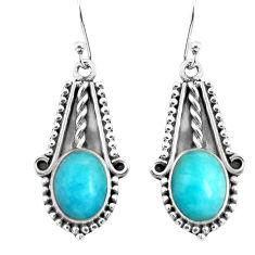 925 silver 9.10cts natural green peruvian amazonite dangle earrings p52804