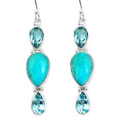 925 silver 14.26cts natural green peruvian amazonite dangle earrings p57410