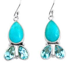925 silver 14.72cts natural green peruvian amazonite dangle earrings p57415