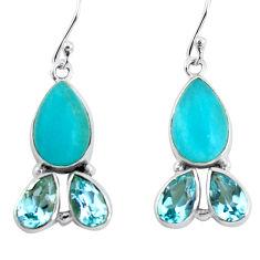 925 silver 14.23cts natural green peruvian amazonite dangle earrings p57419