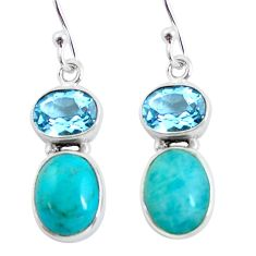 925 silver 10.32cts natural green peruvian amazonite dangle earrings p57543