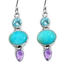 925 silver 11.04cts natural green peruvian amazonite dangle earrings p57546