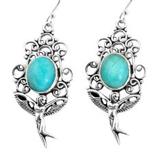 925 silver 8.39cts natural green peruvian amazonite dangle earrings p58396