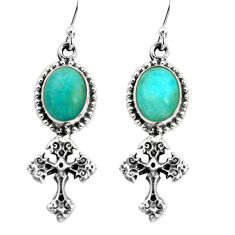 925 silver 9.39cts natural green peruvian amazonite holy cross earrings p60788