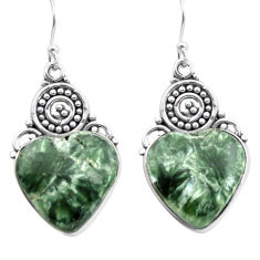 925 silver 17.42cts natural green seraphinite (russian) dangle earrings p72691