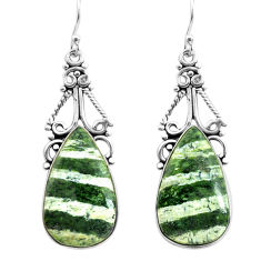 925 silver 19.82cts natural green seraphinite (russian) dangle earrings p72704